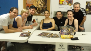 Snake, Karen, Devo, Cat, Frezzo, Sarah, and John Bunker at the signing of Haunting of Larvik Island publishing party